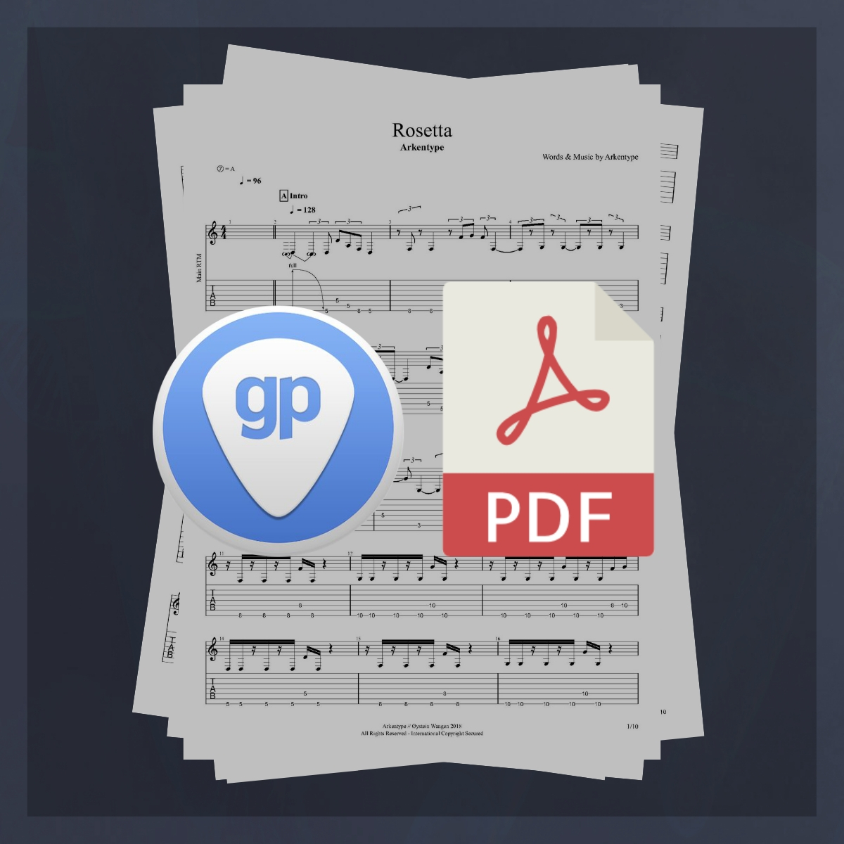 Arkentype Rosetta Guitar Tabulature and Sheet Music