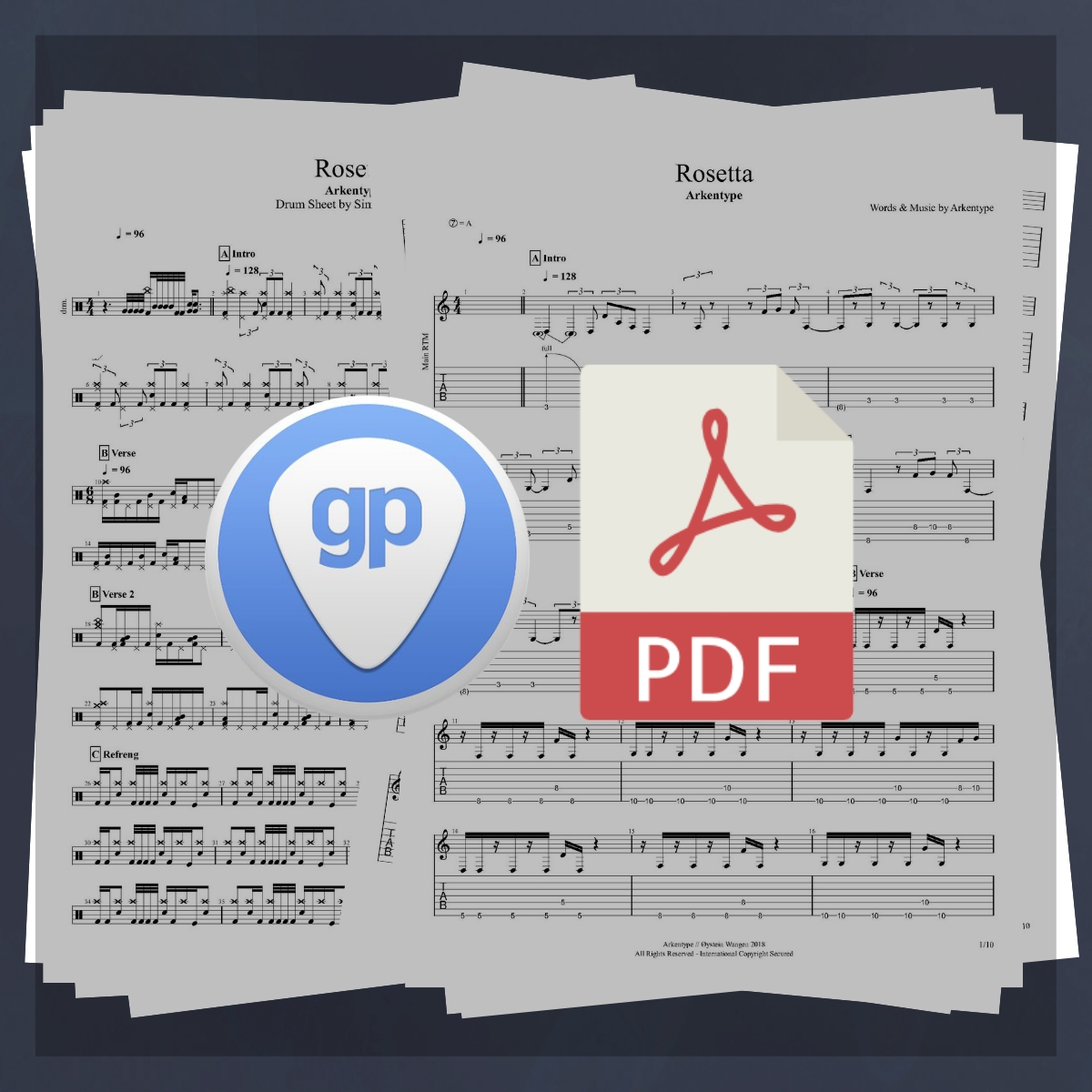 Arkentype Rosetta Guitar and Drums - Tabulature and Sheet Music